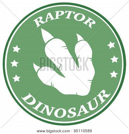 Dinosaur Green Footprint Circle Label Design With Text