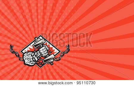 Business Card Hand Bursting With Dumbbell In Chains