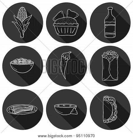 Set of cute cartoon hand drawn outline shadow icons on mexican food theme: chili, taco. tobacco, bir