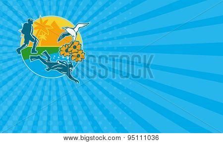 Business Card Hiker Scuba Diver Island Tropicbird Flowers Retro