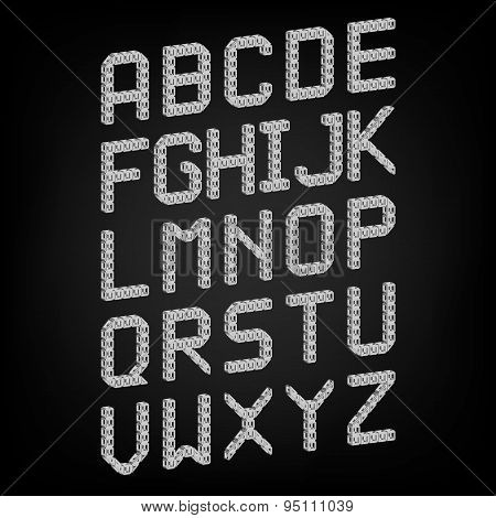 Pixel font isolated vector set. Set of vector pixel alphabet