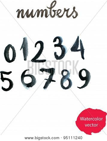 Watercolor Hand Written Black Numbers. Vector Illustration - Ill