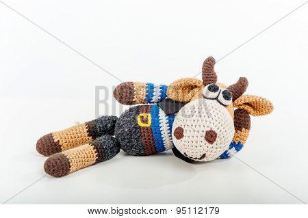 Soft Toy Lying Bull