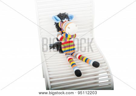 Soft Toys Zebra Sitting In The Chair