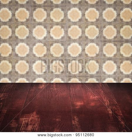 Wood Table Top And Blurred Vintage Ceramic Tile Pattern Wall