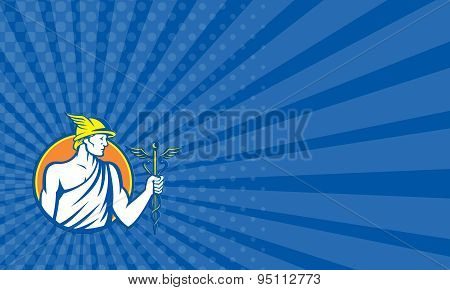 Business Card Mercury Holding Caduceus Staff