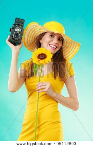 Summer Woman Holds Sunflower Old Camera
