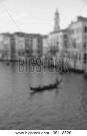 Venice, Italy. The Grand Canal From Rialto Bridge At Sunset. In Black And White Toned. Retro Style.
