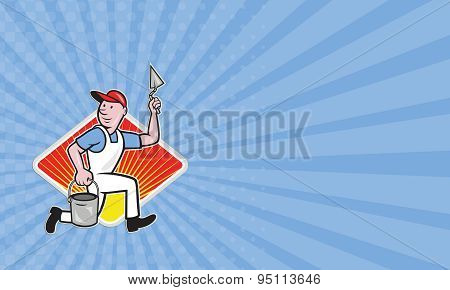 Business Card Plaster Masonry Worker Cartoon