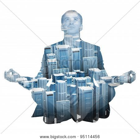 Transparent silhouette of businessman