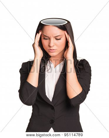 Thinking businesslady with empty head