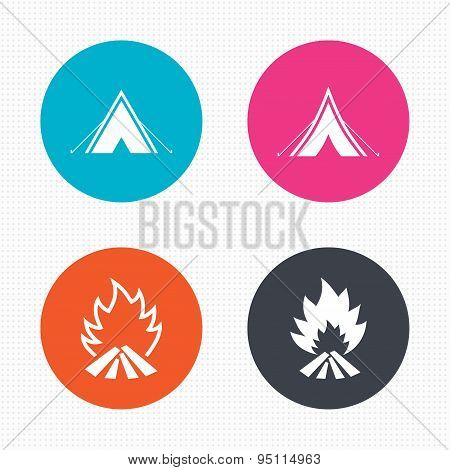 Tourist camping tent signs. Fire flame icons.