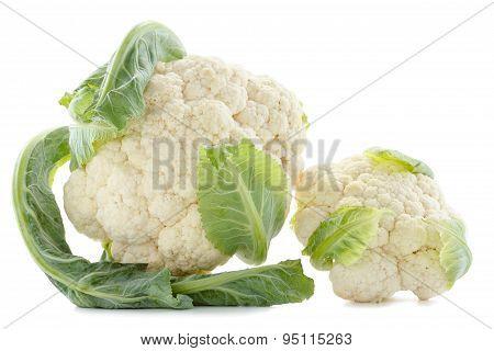 Cauliflower.  Fresh ripe whole cauliflower cabbage closeup isolated on white background