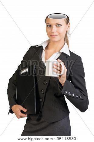 Businesslady with empty head