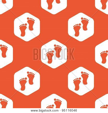 Orange hexagon footprint pattern