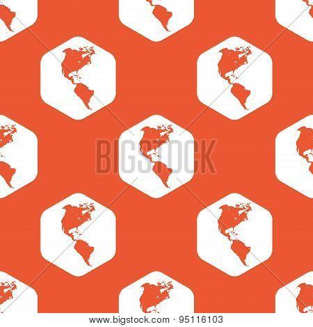 Orange hexagon America pattern