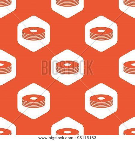 Orange hexagon disc pile pattern