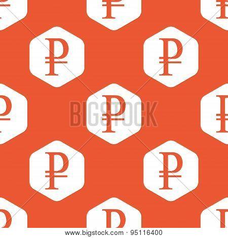 Orange hexagon ruble pattern