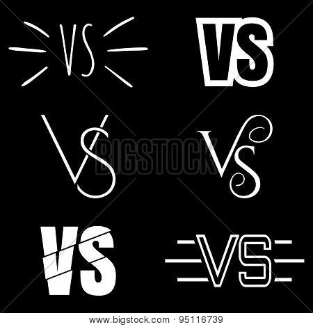 Versus letters logo. White V and S symbols collection.