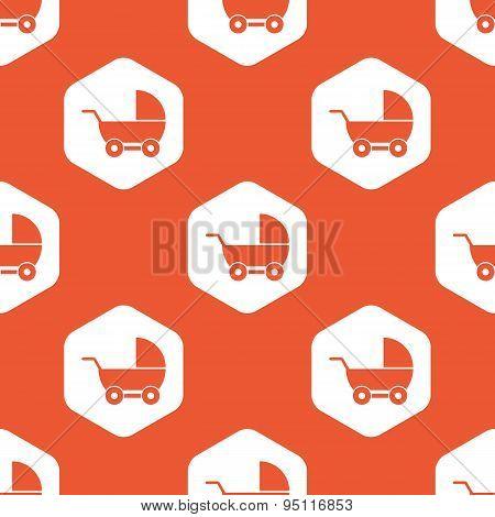 Orange hexagon pram pattern