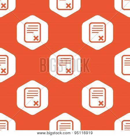 Orange hexagon declined document pattern