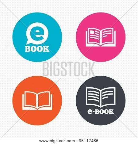 Electronic book signs. E-Book symbols.