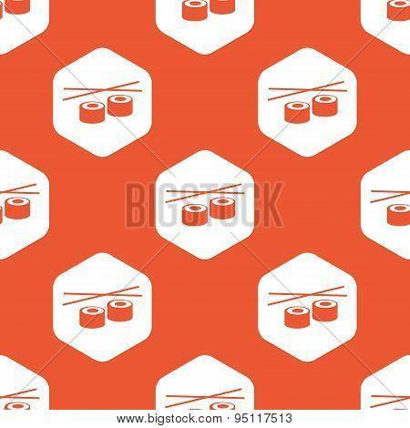 Orange hexagon sushi pattern