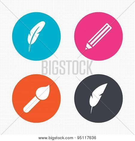 Feather retro pen signs. Brush and pencil icons.