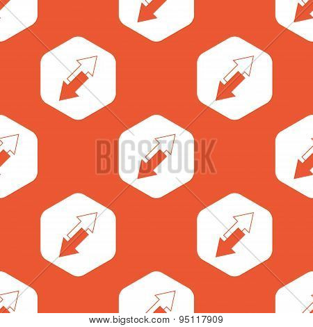 Orange hexagon tilted arrows pattern