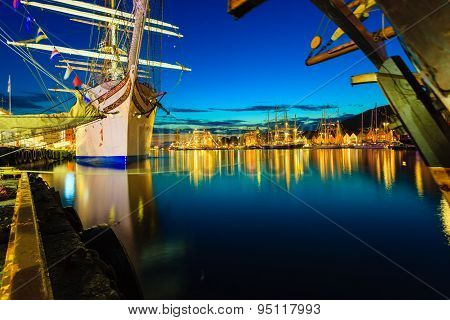 Tall Ships Races In Harbour On July 26, 2014 In Bergen, Norway.