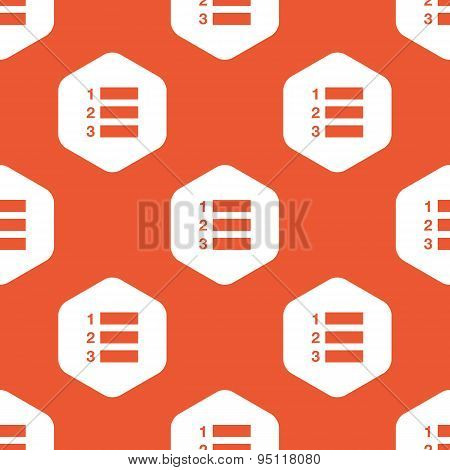 Orange hexagon numbered list pattern