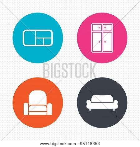 Furniture icons. Sofa, cupboard, and book shelf.