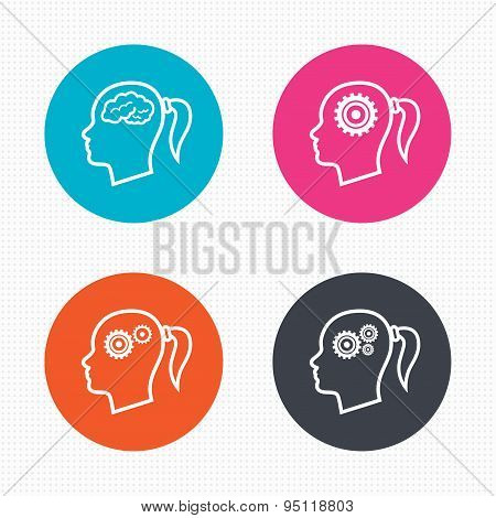 Head with brain icon. Female woman symbols.