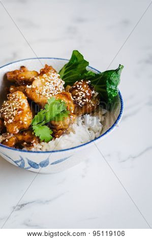 chinese honey chicken with rice and bok choy