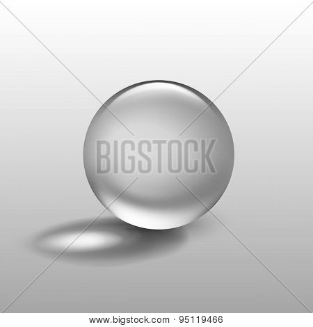 Vector Realistic Water Glass Sphere Ball Isolated