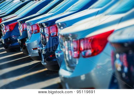 poster of Parked Cars On A Lot