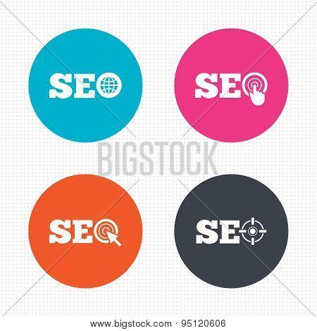 SEO icons. Search Engine Optimization symbols.