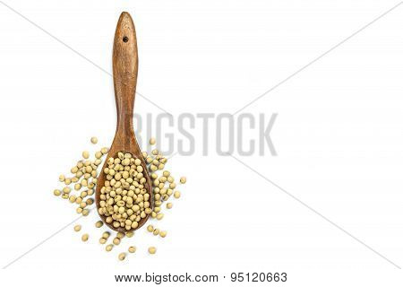 Soy Beans In Wooden Spoon Isolated On White