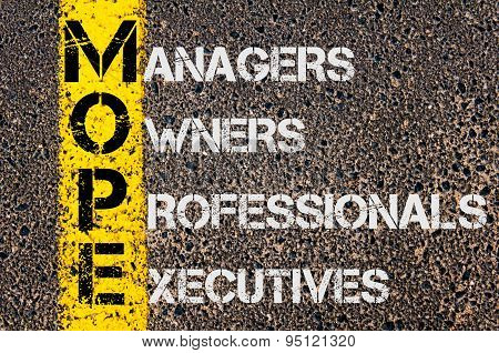 Business Acronym Mope As Managers Owners Professional Executives