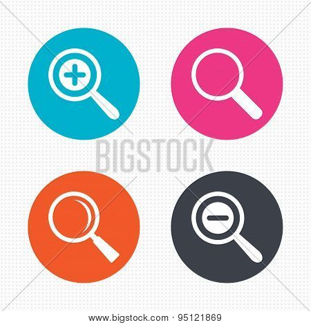 Magnifier glass icons. Plus and minus zoom tool.
