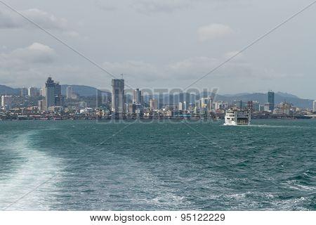 Skyline Of Cebu City From Lite Ferry, Philippines