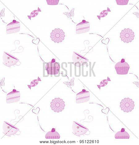 Vector seamless dessert pattern