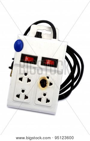 Dirty Melted And Burned Electric Outlet Plug On White Background