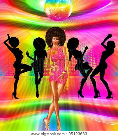 Vintage and retro disco dance scene with silhouettes of our unique digital art disco queen in the ba
