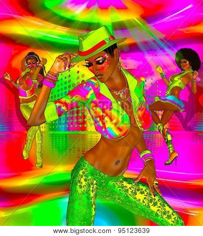 Disco dance party girls on a colorful background and dance floor.