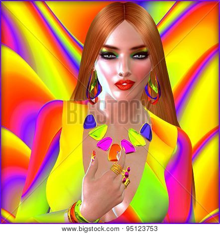 Strawberry blonde with colorful make up, jewelry and background.  Perfect for Summer fun!