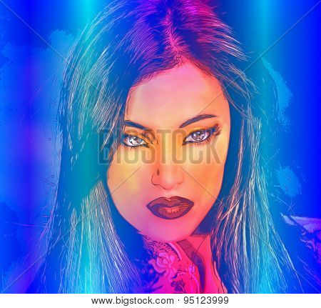 Brunette woman in a beautiful abstract digital art style.