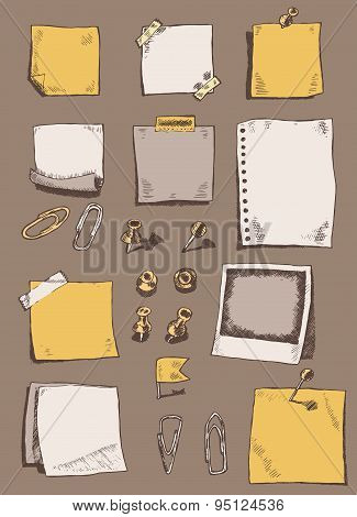 Pins pointers note papers clips sketch doodles