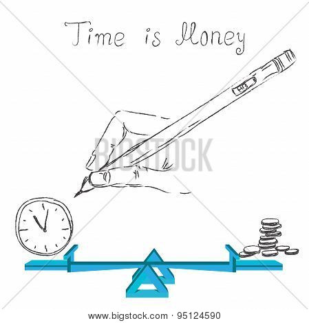 time is money concept in sketch style, vector