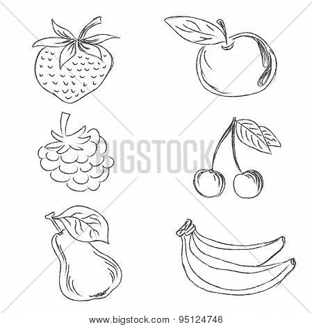 set of fruits in sketch style, vector